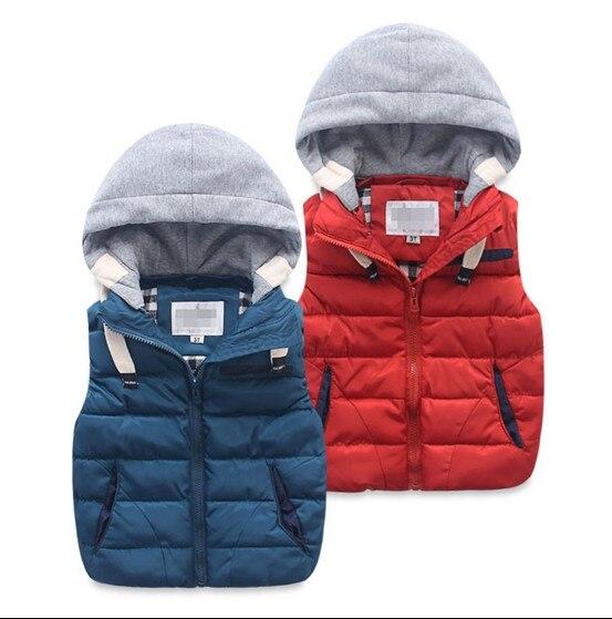 73af00d22 Retail 2015 otoño invierno Bebé Niños spliced Chaleco de algodón acolchado  de los niños del chaleco wadded chaqueta sin mangas con capucha abrigo g124  en ...