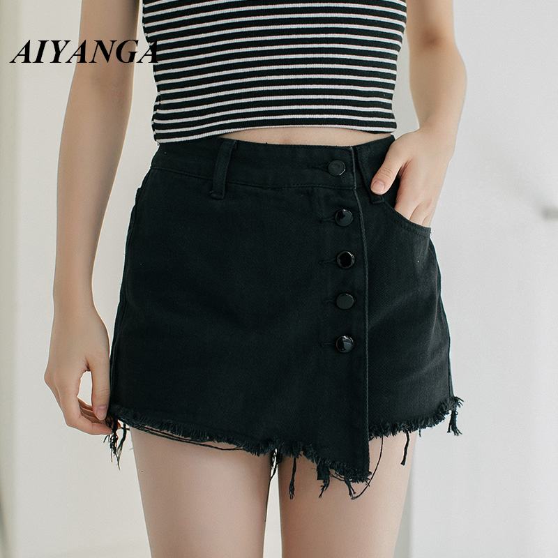 AIYANGA Summer Denim Shorts For Women 2019 High Waist Casual Female Short Jeans Slim Cotton Single-breasted Solid Shorts Skirts