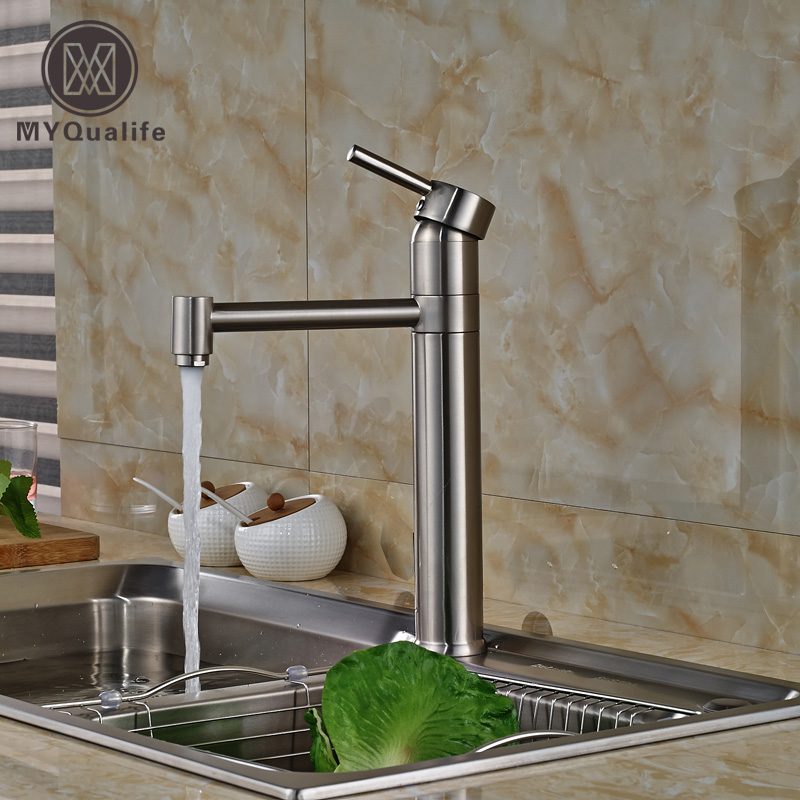 Nickel Brushed Swivel Spout Kitchen Sink Faucet Single Handle Kitchen Mixer Water Taps Deck Mount