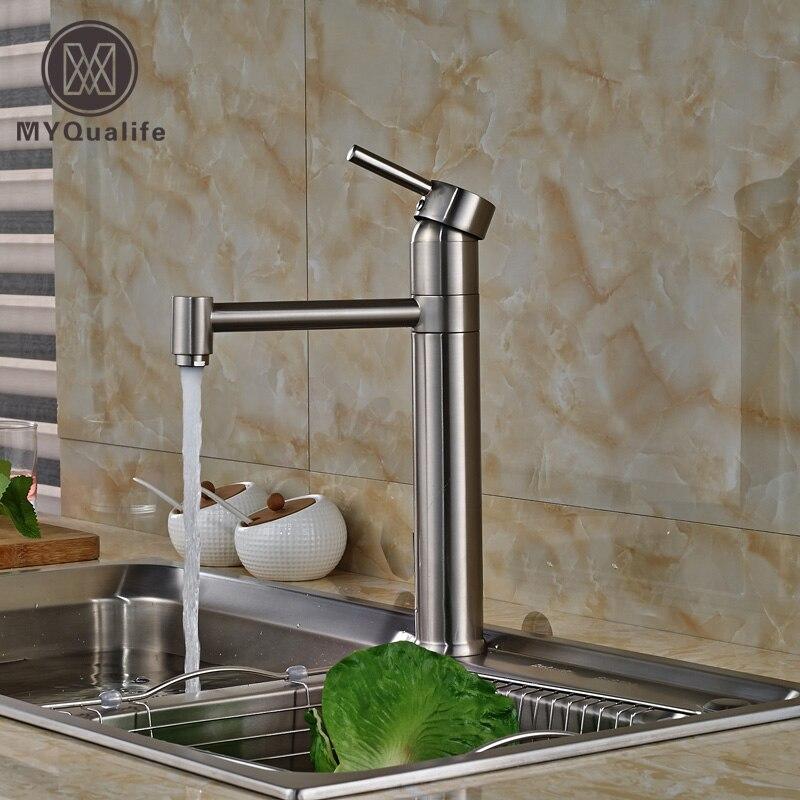 Nickel Brushed Swivel Spout Kitchen Sink Faucet Single Handle Kitchen Mixer Water Taps Deck Mount