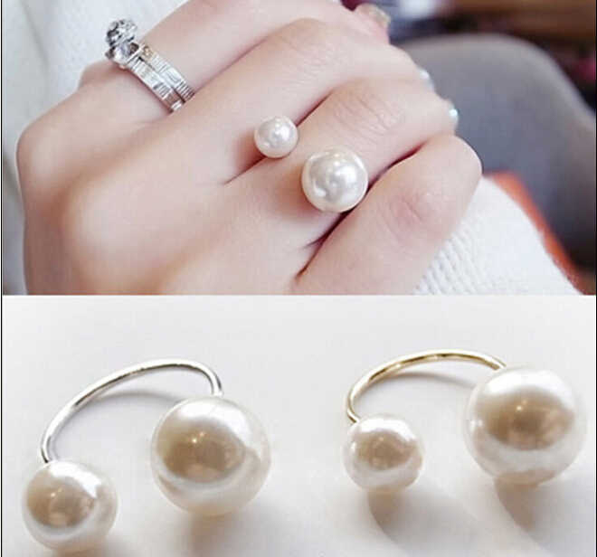 Promotion Korean Elegant Women  Korean Lovely Girls Simulated Pearl  Opening Adjustable Ring R1047