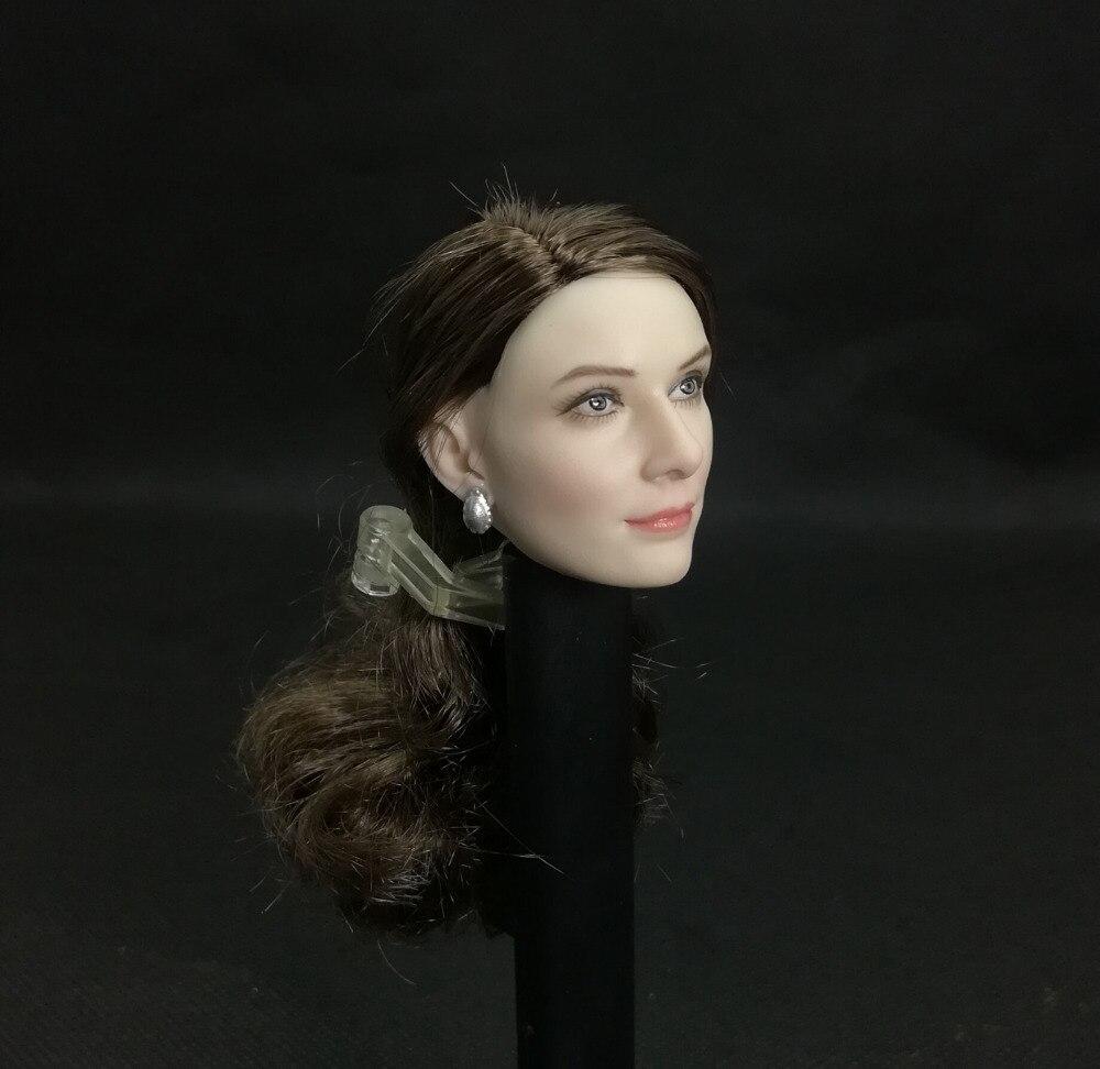 "1:6 Elizabeth Olsen Female Head Model Planted Brown Hair Fit 12/"" Action Figures"