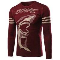 Männlich pullover pullover gestrickt polo pullover shark gedruckt marke designer männer unterwäsche pullover durch luft casual pullover männlich s109