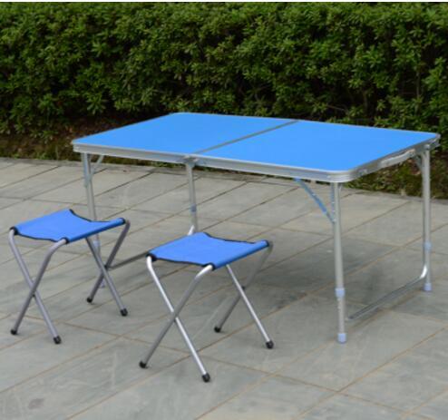 120*60*70 cm En alliage D'aluminium Pliant Portatif Extérieur Table table De Camping Pique-Nique En Plein Air bureau avec 2 pièces chaises