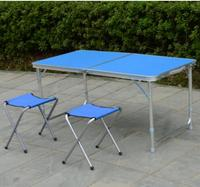 120*60*70cm Aluminum alloy Portable Folding Outdoor Table Camping table Outdoor Picnic desk with 2pcs chairs