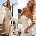 Envío Gratis Siempre Belleza Moda Champagne Largos Vestidos de Noche 2016 la Longitud Del Piso Rebordear Vestidos Formales Robe De Soirée
