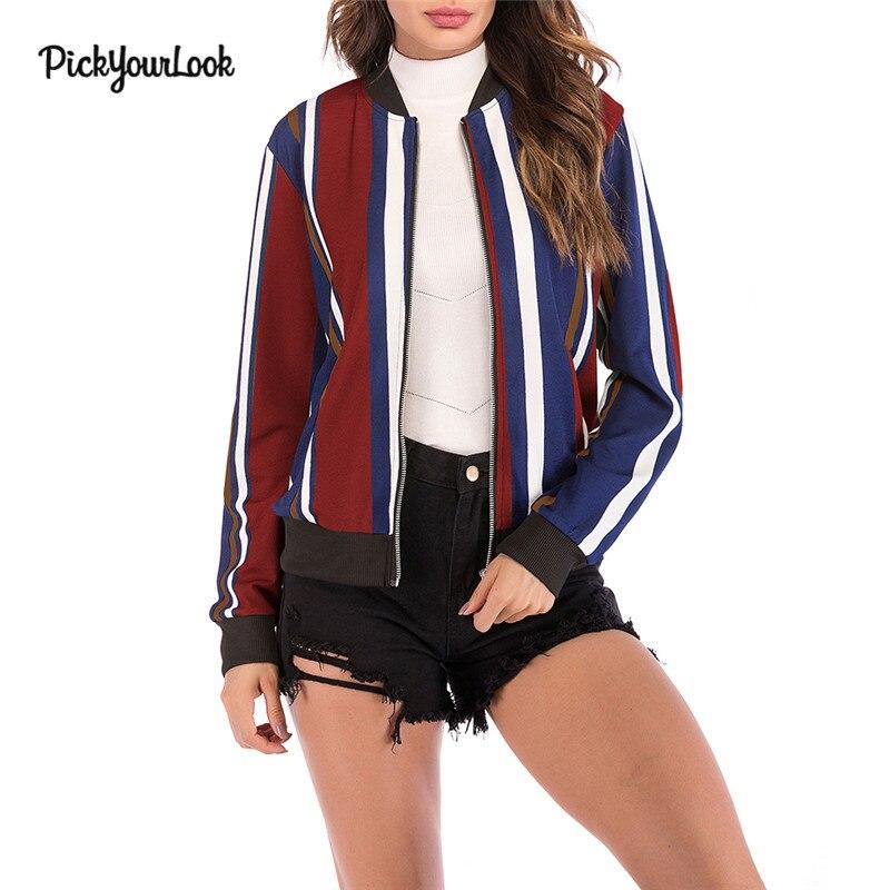 Pickyourlook Female Zipper Placket Geometry   Basic     Jacket   Autumn Baseball   Jacket   For Women Multicolor Collarless Bomber   Jackets