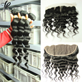 Indian Loose Wave With Frontal 4 bundles Virgin Hair With Ear To Ear Lace Frontal Closure Indian Virgin Hair With Lace Frontals