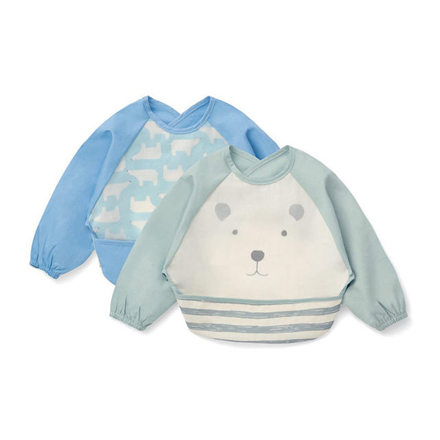 Cartoon Baby Bibs Apron Waterproof Girls Boy Feeding Burp Cloths with Long Sleeves Newborn Kids Saliva Towel