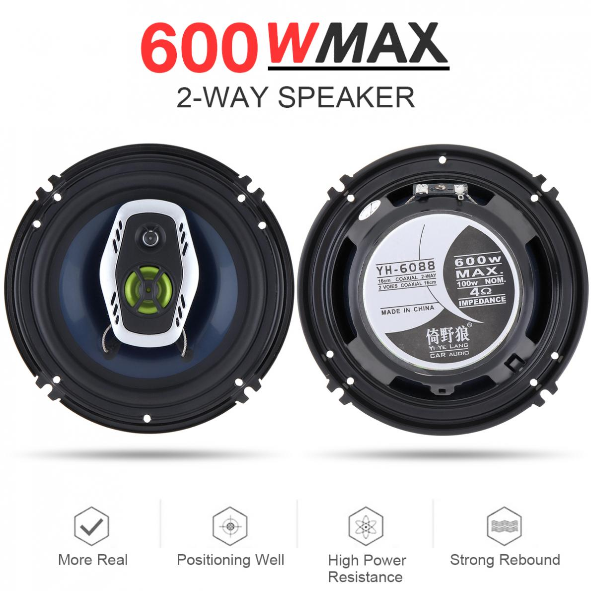 1Pair  6.5 Inch 16cm 600W 2 Way Universal Car Coaxial Hifi Speakers Auto Audio Music Stereo Speaker Non-destructive Installati1Pair  6.5 Inch 16cm 600W 2 Way Universal Car Coaxial Hifi Speakers Auto Audio Music Stereo Speaker Non-destructive Installati