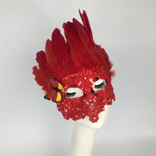 купить European and American Queen Red Feathers Upscale Exaggeration Ball Annual Meeting Mask Halloween Ladies Bar Party Mask дешево