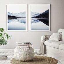Скандинавские облака плакат озеро пейзаж стены искусства синие