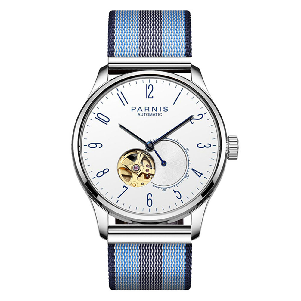 Parnis Business Seriers Mens 100m Waterproof Hollow-out Classic Fashion Automatic Self-Wind Mechanical Watch Wristwatch