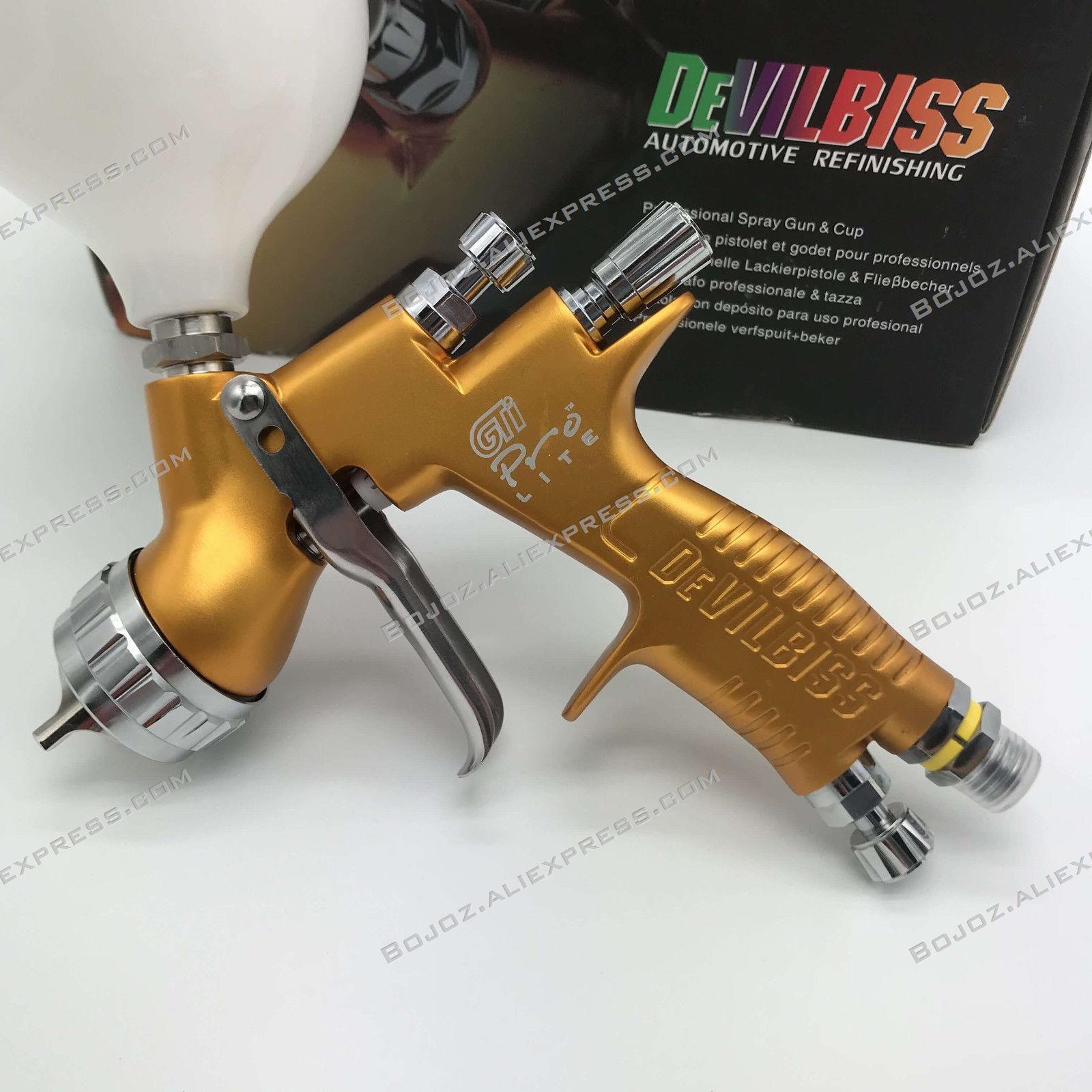 Professionnel Sparyer GTI PRO LITE OR/NOIR 1.3mm buse w/t tasse LVMP Peinture De Voiture Outil Pistolet Pistolet protection de l'environnement