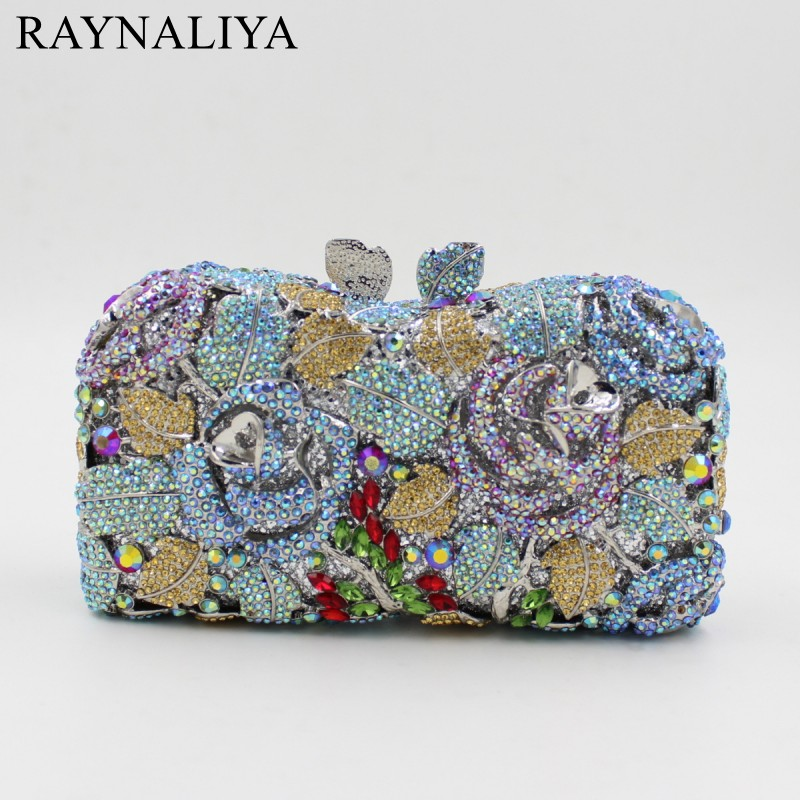 Luxury Women Messenger Bag Crystal Clutch Purse Party Bling Rose Evening Bag With Wrist Chain Bolso For Lady SMYZH-F0294 luxury crystal clutch handbag women evening bag wedding party purses banquet