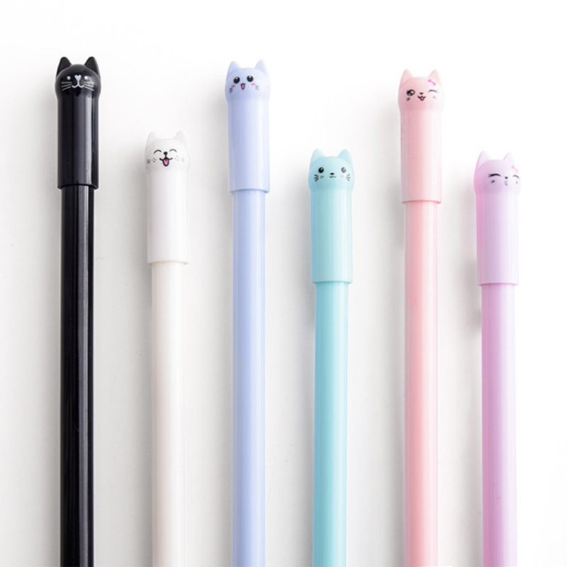 6PCS/set Cat Gel Creative Cute Pink White Black Blue Pen 0.38mm  1