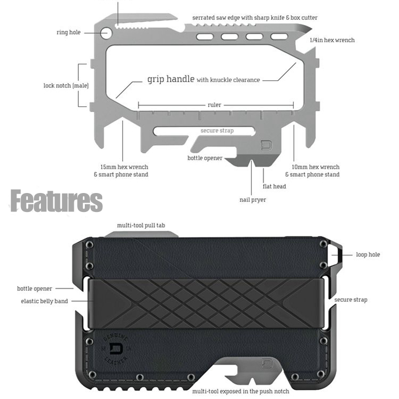 Metal Clip EDC Wallet Tactical Multi-function Wallet Card Package Army Fans Equipment