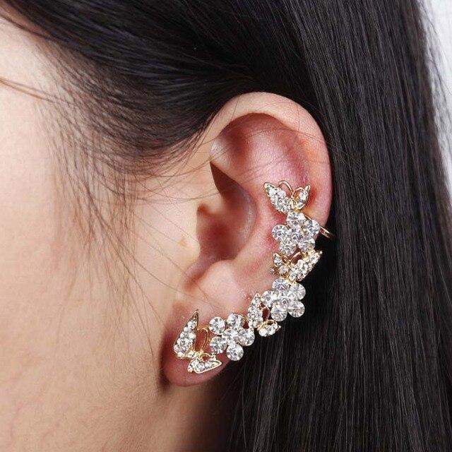 2017 New Women Erfly Gold Flower Rhinestone Ear Cuff Stud Earrings Clips Free Drop