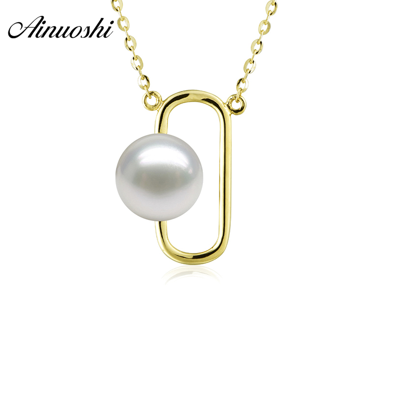 AINUOSHI Luxury 18K Yellow Gold Necklace Pendants Natural Fresh Water Pearl 7.5-8mm Round Pearl Engagement Necklace Pendant Gift yoursfs heart necklace for mother s day with round austria crystal gift 18k white gold plated