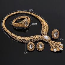 2018 Bridal Gift Nigerian Wedding African Beads Jewelry Set Brand Woman Fashion Dubai Gold Color Jewelry Set Wholesale Design