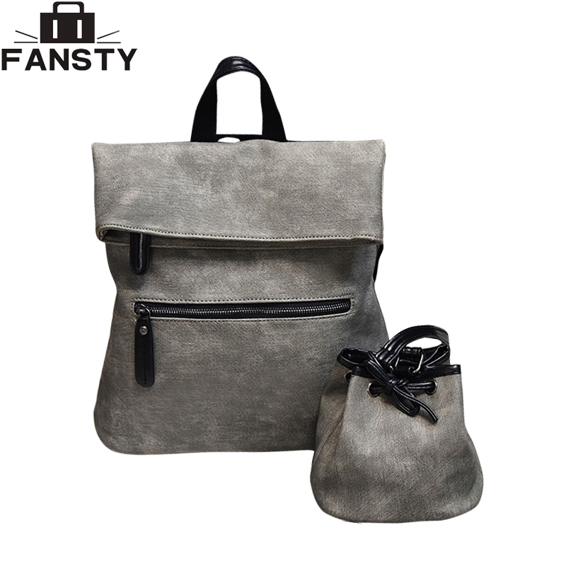 New Women Composite Backpck 2 Pieces Bags PU Leather Solid Travel Bag Knapsack High Quality Casual Female College Backpack high quality tote bag composite bag 2