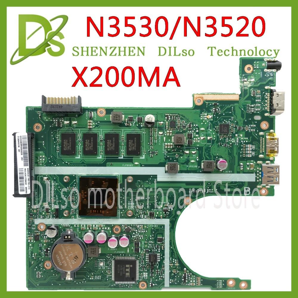KEFU X200MA For ASUS F200MA X200MA Laptop Motherboard N3530/N3520 CPU 4GB MEMORY motherboard REV2.1 Test free shipping original laptop laptop motherboard for asus x200ma k200ma f200ma mainboard with n2815 cpu integrated fully test