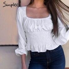 Simplee Elegant long sleeve women blouse shirt