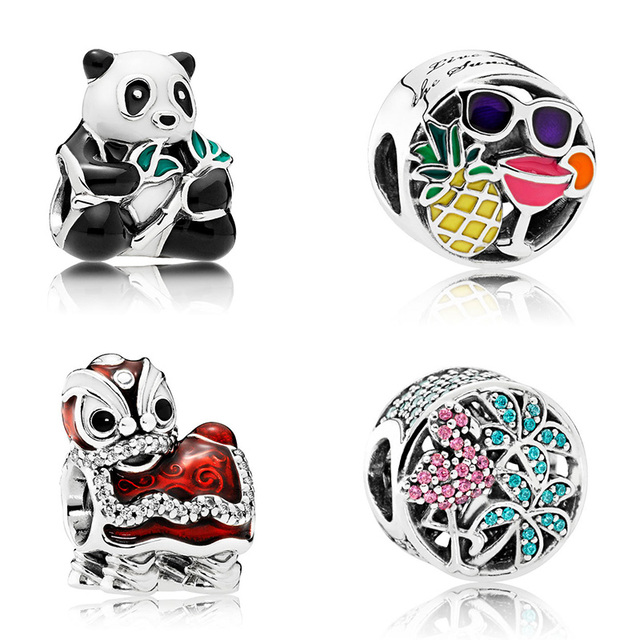 925 Sterling Silver Chinese Panda Hawaii Beach Lion Travel Theme
