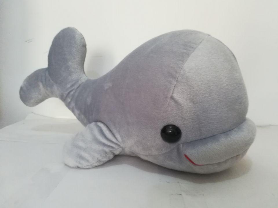 Nouveauté grand 48 cm gris dessin animé baleine en peluche jouet grande tête baleine douce poupée jeter oreiller cadeau de noël s2129