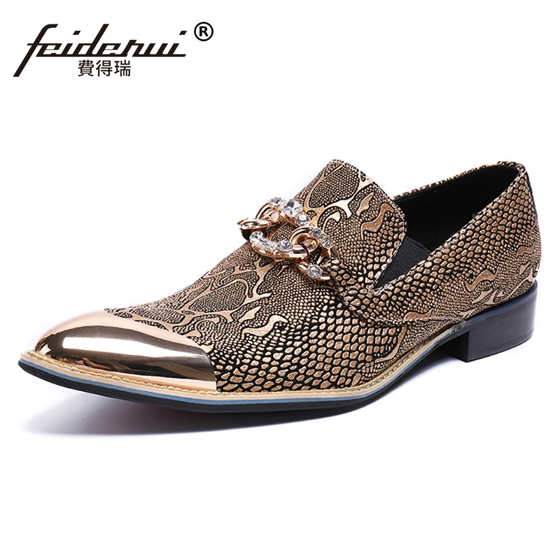 Plus Size Luxury Designer Genuine Leather Man Handmade Loafers Pointed Toe Slip on Python-Patterned Men's Banquet Shoes SL455