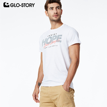 GLO-STORY 2019 Summer New Mens Letter Print 100% Cotton Short Sleeve T-Shirts Male Casual Tee Shirt Tops Men MPO-8666