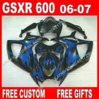 ABS Обтекатели для кузов 2006 2007 Сузуки GSXR 600 750 ювелирные изделия цвет синий, черный; Большие размеры 34–43 K6 BACARDI GSXR600 GSXR750 Комплект 7 подарки IU93