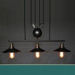 Loft lampy wiszące w stylu vintage bloczek źelazny podłużna lampa dekoracja kuchenna E27 oprawy oświetleniowe typu edison darmowa wysyłka