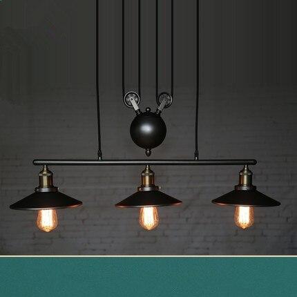 Loft vintage pendant lights Iron Pulley Lamp Bar Kitchen Home Decoration E27 Edison Light Fixtures Free Shipping|Pendant Lights| |  - title=