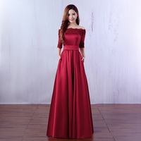 2016 New Wine Red Lace Embroidery Luxury Satin Half Sleeved Long Evening Dress Bride Elegant Banquet
