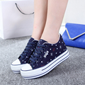 New 2017 Fashion Brand Women Shoes High Platform Foral Quality Canvas Shoes Lace Up Breathable Women Casual Shoes Footwear X433