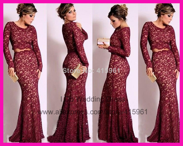 13216 2014 Burgundy Scoop Two Piece Long Sleeve Formal Mermaid Lace Evening Prom Dress Gown E5240 En Vestidos De Noche De Bodas Y Eventos En