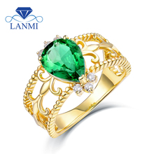 Natural Green Colombia Pear Emerald font b Rings b font Real Solid 14K Yellow Gold Natural
