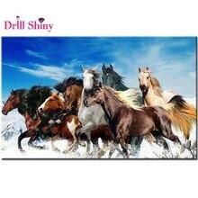 full square diamond 5D DIY diamond painting eight horse Run in the snow diamond embroidery Cross Stitch decor wall painting