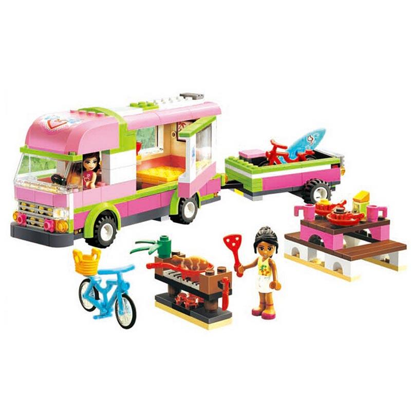 BELA 10168 Friends Adventure Camper Trailer Building Block Sets Olivia Nicole Girl Figures Toy Compatible LegoINGly Caravan 3184