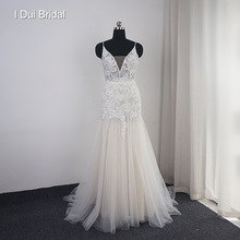 I DUI Bridal Sheath Boho Wedding Dress Champagne Lining