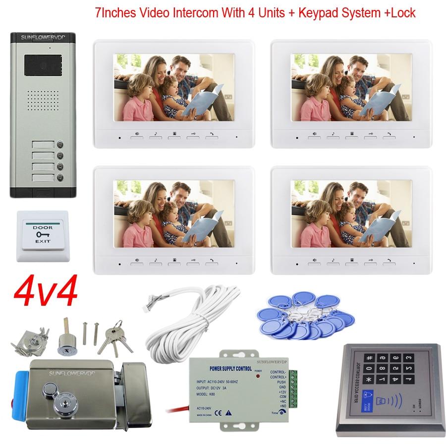 "Access Control Keypad 4 Apartments Video Door Intercom Color 7"" Indoor Monitor Video Doorbell System + Electronic Door Lock Unit"
