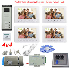 "Access Control Keypad 4 Apartments Video Door Intercom Color 7"" Indoor Monitor Video Doorbell System + Electronic Door Lock Unit(China)"