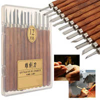 12pcs Carving Tools DIY Clay Pottery Tools for Wood Carving Chisels Knife Sculpture Wooden Handle Set Pottery Clay Ceramic Tools