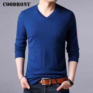 Image 2 - COODRONY suéter de cachemira grueso y cálido para hombre, ropa para hombre, suéter de lana Merino de 100%, suéter de talla grande con cuello en V, 2018