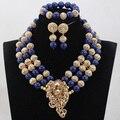 Único Azul Royal Coral Contas conjuntos de Jóias de Casamento Africano Nigeriano Nupcial/CJ851 Mulheres Contas de Colar de Jóias Definir Frete Grátis