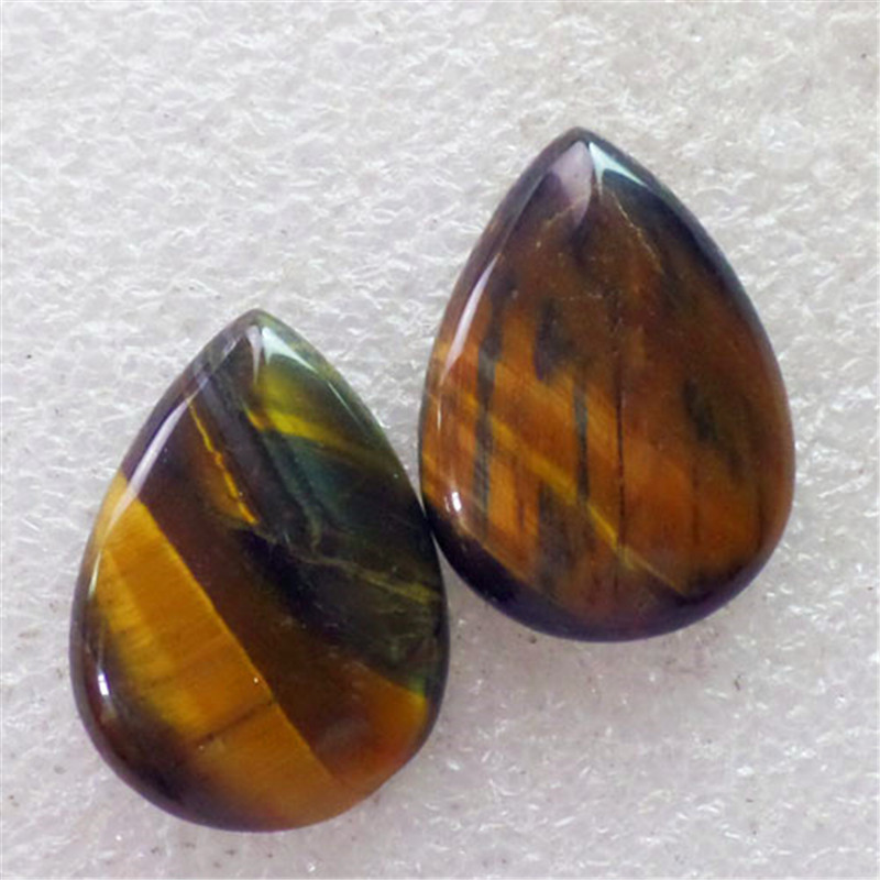 (2 pieces/lot) Wholesale Natural Tiger Eye Gem Teardrop CAB Cabochon 30x22x6mm Free Shipping Fashion Jewelry C0000853