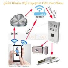 Timbre de La Puerta de huellas dactilares con HD Cámara de Seguridad Para el Hogar Monitor de Video de La Puerta Sistema de Intercomunicación Del Timbre Del Teléfono