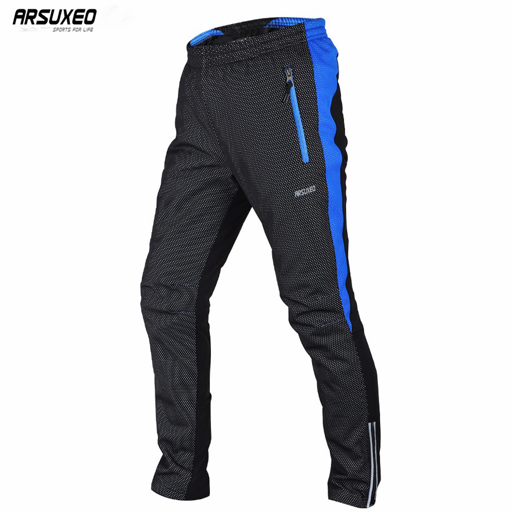 ARSUXEO 2018 Men s Winter Warm Up Thermal Fleece Cycling Pants MTB Bike Bicycle Trousers Windproof