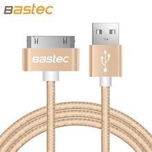Bastec Original 30 pin Metal plug Nylon Braided Sync Data USB Cable for iphone 4 4s iPad 2 3 with Retail Box